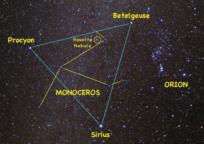 Look for the celestial unicorn this week inside the large triangle formed by the bright stars Sirius, Betelgeuse and Procyon, high in the southern sky at about 8 p.m.