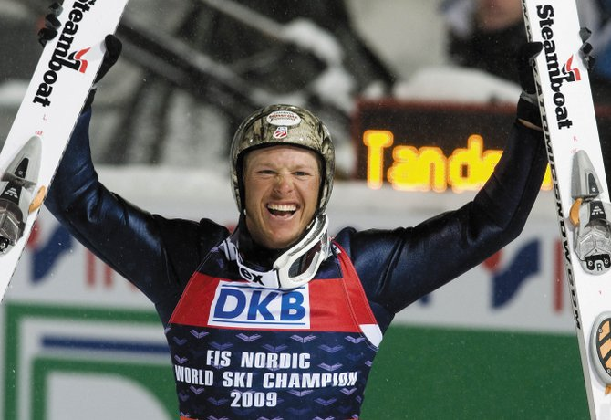 Steamboat Springs' Todd Lodwick celebrates his gold medal in the 2009 Nordic Combined World Championships in Liberec, Czech Republic, on Friday. Lodwick won the gold medal ahead of Tino Edelmann, of Germany, and Jason Lamy Chappuis, of France.