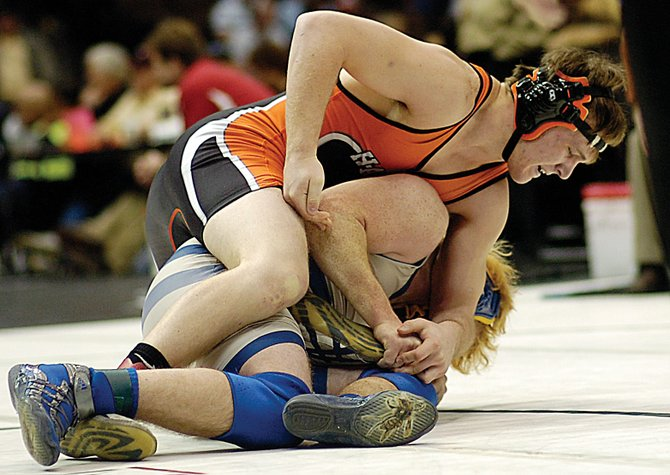 Hayden senior Coy Letlow wrestles Saturday in the consolation bracket finals of the Class 2A state wrestling tournament in Denver.
