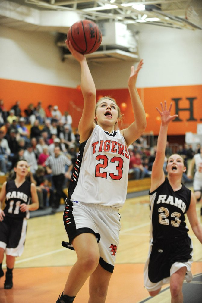 Hayden High School freshman Erin Koehler goes up for a shot during the second half of Saturday's playoff game against Soroco. Hayden won, 61-40.