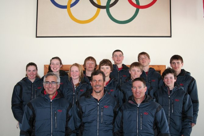 Athletes on the 2009 Nordic Combined Junior Olympic team are, from left, Mary O'Connell, Madison Keefe, Emily Hannah, Aleck Gantick, Jake Barker, Erik Lynch, Ben Berend, Fritz Carpenter, Nicholas Madden and Dylan Reed