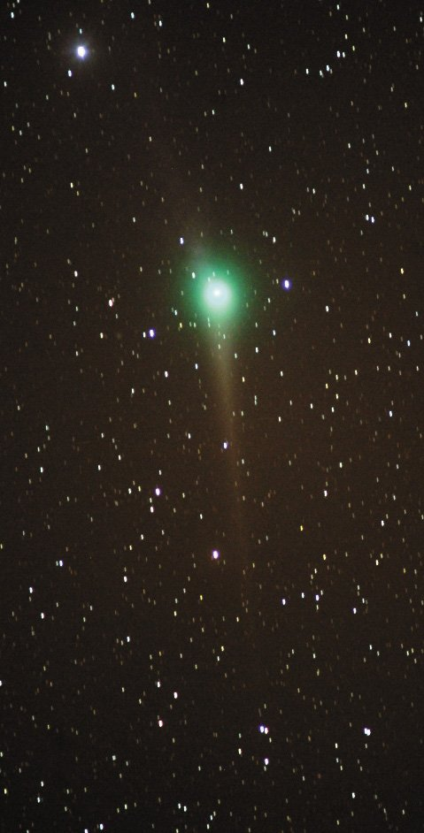 Comet Lulin is cruising through the stars of Leo the Lion this week, barely visible to the unaided eye from dark locations. Look about one-third of the way up in the southeastern sky at about 8 p.m. near the bright star Regulus. Binoculars will enhance the view.