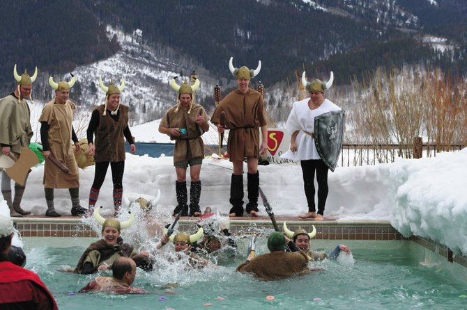 "The ""SmartWool Vikings"" participate in the 2008 Penguin Plunge, an event presented by the Healthcare Foundation for the Yampa Valley to benefit Yampa Valley Medical Center. Participants are asked to raise a minimum of $100 to jump into an icy pool at Catamount Ranch & Club. Team registration for this year's event - scheduled for noon March 28 - is due March 16."