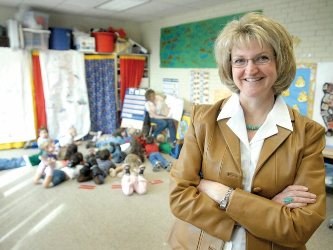 Christine Villard, shown in Toni Tuttle and Lisa Wood's preschool classroom, is one of three finalists for the Moffat County School District superintendent position. Villard serves as the district's assistant superintendent, a position she has had since July 2008. Superintendent Pete Bergmann plans to retire before the 2009-10 school year.