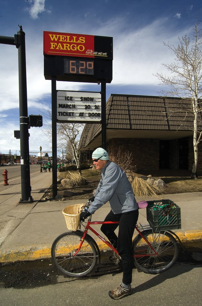 Steamboat Springs resident Wendy Tomlinson didn't need the clock at the Wells Fargo Bank to tell her how high temperatures were Tuesday afternoon.