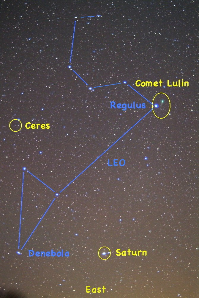 Catch Saturn rising in the eastern sky with the constellation Leo at about 8 p.m. early this month. When this image was taken Friday, Comet Lulin and the dwarf planet Ceres also were visible in Leo.