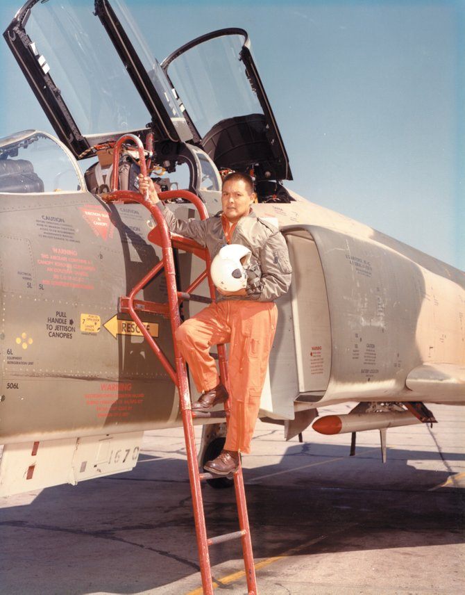 Harvey Begay poses on the ladder of an F-4 Phantom in October 1966.