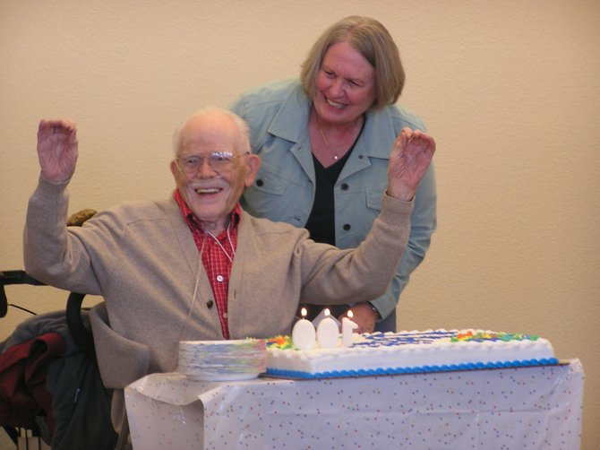 Bob Myers, with daughter Lynne Caddell, celebrated his 100th birthday with friends and family at The Haven on Friday. 