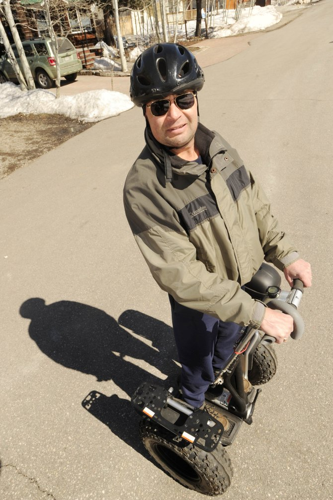 Routt County Veterans Affairs officer Michael Condie shows off his Segway x2 Adventure, which he received two months ago from the U.S. Department of Veterans Affairs to assist his mobility.