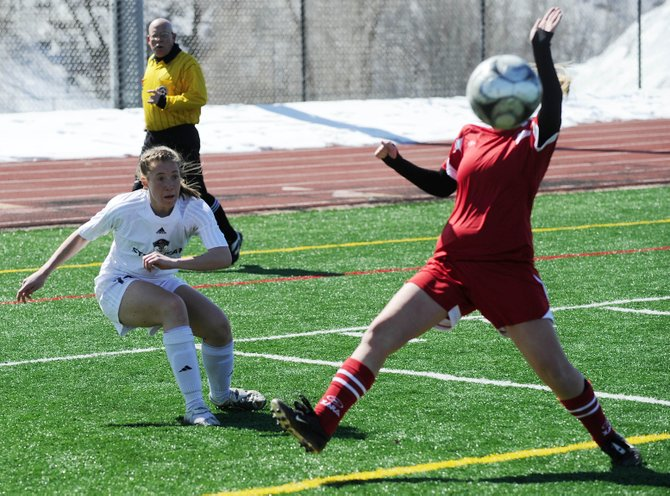 Steamboat Springs High School girls soccer player McKenzie Worden takes a shot Saturday during Steamboat's match against Glenwood Springs. The Sailors won, 4-1.