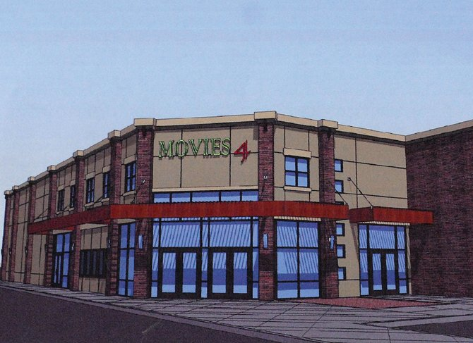 A sketch drawing of the four-screen movie theater, which Craig residents Dale and Andrea Camp want to build this year. The couple plans to build on a now-empty lot west of the Hampton Inn, which is under construction off First Street.