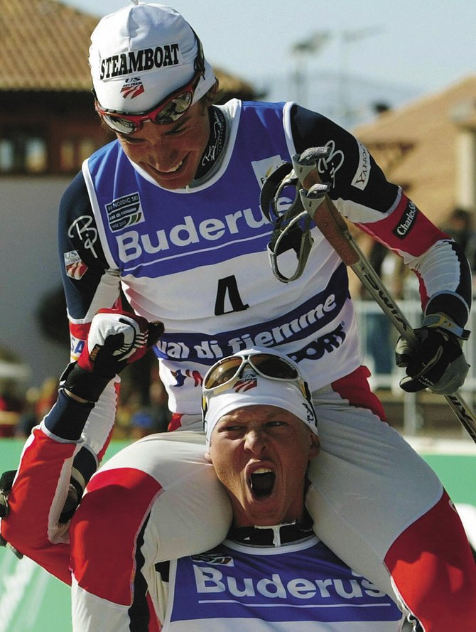 Johnny Spillane is carried on the shoulders of Todd Lodwick after Spillane won gold in the Nordic combined sprint at the 2003 FIS Nordic Skiing World Championships in Val di Fiemme, Italy. Lodwick, Spillane and teammate Bill Demong are leading the way for the next generation of Steamboat Springs Nordic combined athletes.