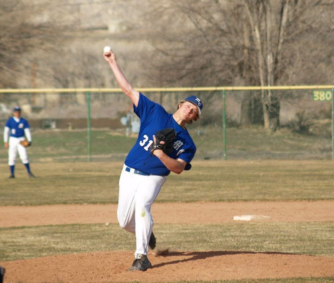 Moffat County pitcher Erick Leonard, pictured above as a sophomore, took the mound for the Bulldogs on Saturday in Olathe. The Bulldogs lost to Carbon County (Utah), 17-0, finishing their season-opening road trip 0-3.