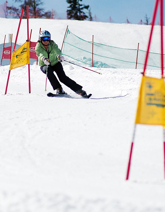 Linda Walkup skis down the NASTAR course last week at Steamboat Ski Area. Walkup will be one of more than 1,000 racers who compete starting today in the NASTAR National Championships on Mount Werner.
