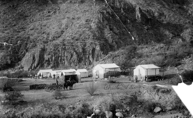 A July 1909 photograph of the camp at the Ladore Dam site.