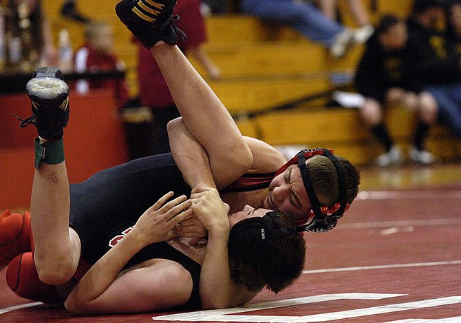 Steamboat Springs seventh-grader Max May wrestles Saturday at a meet in Steamboat. May won the 115-pound division, going undefeated against his competition and helping his squad to the team championship.