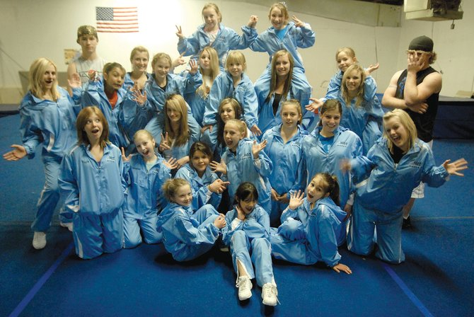 Most of the 29 members of the Moffat County Thunder cheerleaders pose for a photo Tuesday at Gymstar Gymnastics in Craig. Ten members of the youth team and 19 on the senior team will be heading to Las Vegas this weekend for the World Spirit Federation Nationals.