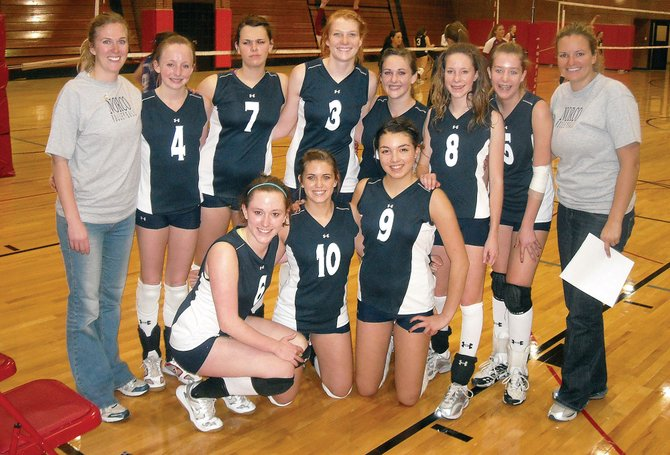 The NORCO West 16s club volleyball team includes front row, from left, Meghan Rabbitt, Molly Dierdorff and Maggie Stanford; back row, from left, coach Darcey Miller, Kailee Duryea, Addie Sulentich, Kaitie Breisch, Jessica Mathews, Callie Hvambsal, D.J. Ditter and coach Sara Ferris.