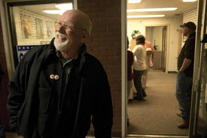 Voters re-elected Terry Carwile, a Craig City Council incumbent, on Tuesday. He received 484 votes, the third most among the council candidates. He is pictured above at the Moffat County Courthouse, where election results were announced Tuesday night.