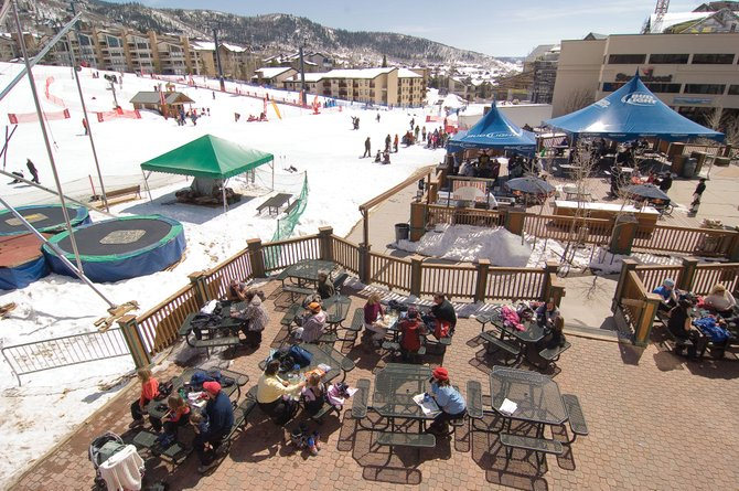 Vacationers enjoying one last weekend of spring skiing flocked to the deck of the Bear River Bar &amp; Grill on Tuesday afternoon. Sales tax collections in Steamboat Springs for February were nearly 20 percent lower than February 2008 numbers. 