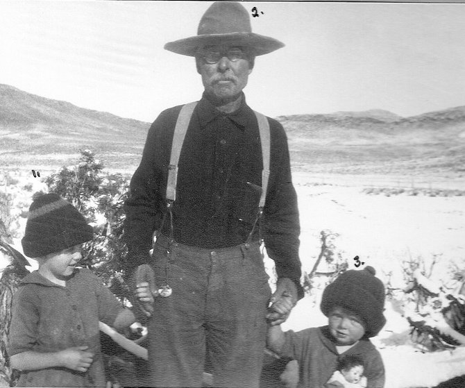 "From left, Emily Reeve, William T. ""Red Wash"" Jones, and Marlys Reeve about 1927 on Blue Mountain. Children called Red Wash ""Uncle Billy."""