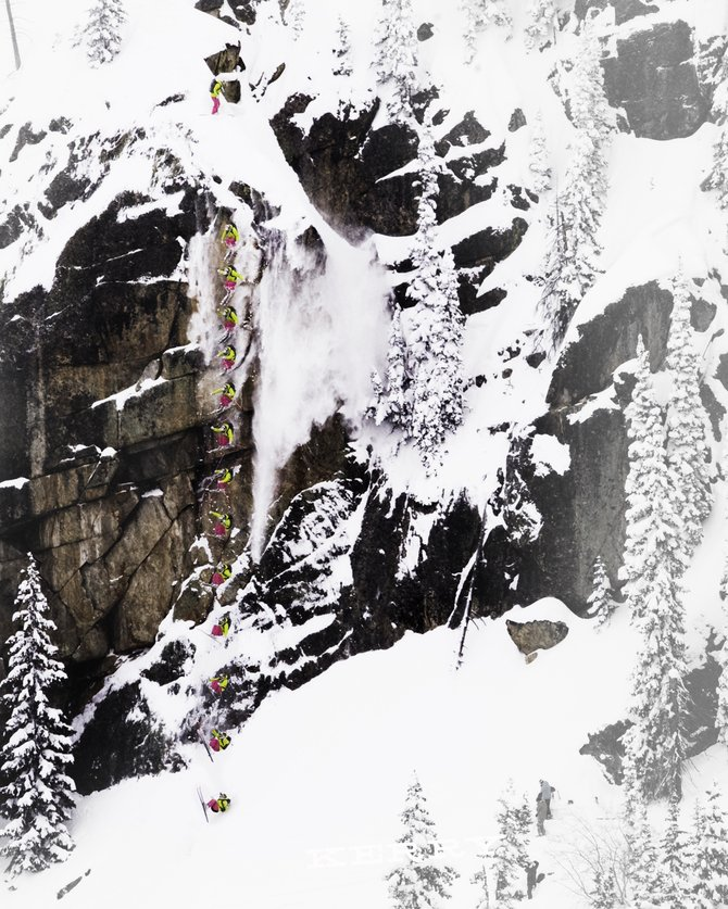 A collection of photographs shows Kerry Lofy's Hell's Wall huck last week in the backcountry near Steamboat Ski Area. Lofy jumped the approximately 100-foot-tall cliff after having spent the year competing on an extreme skiing tour. The 22-year-old Wisconsin native loaded up on extra back braces and extra cushioning but credited his experience for managing the feat without injury.