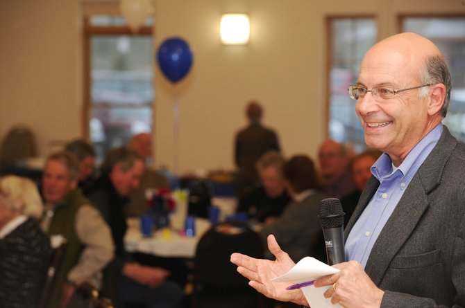 Colorado Secretary of State Bernie Buescher speaks to Routt County Democrats on Saturday during the Jefferson/Jackson Potluck Dinner.