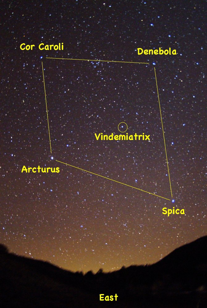 "Look for the four bright stars of the ""Virgin's Diamond"" high in the eastern sky after darkness falls on early spring evenings."