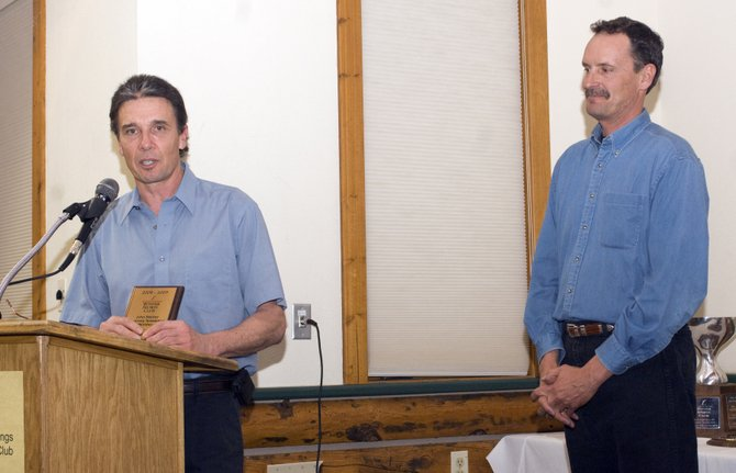 Rick Denney speaks Tuesday night after winning the John Fetcher Honorary Sustaining Member Award. The honor was one of several handed out as the Winter Sports Club celebrated the end of the season with an awards ceremony.