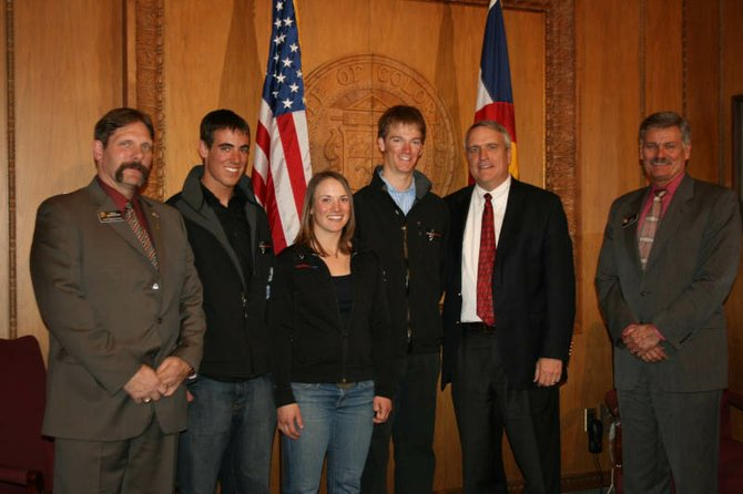 Pictured from left are state Rep. Randy Baumgardner, Steamboat Springs High School students Ben Paley and Lorin Paley; Drew Hauser, of Silverthorne; Gov. Bill Ritter; and state Sen. Al White. The Paleys visited the state Capitol in Denver on Thursday in recognition of their telemark talents.