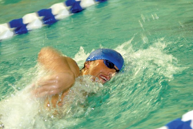 Cole Worsley competes in the 50-meter freestyle last year in the Bulldog Invitational. Worsley and other MCHS swimmers have been preparing this week in practice for Saturday's meet in Glenwood Springs.