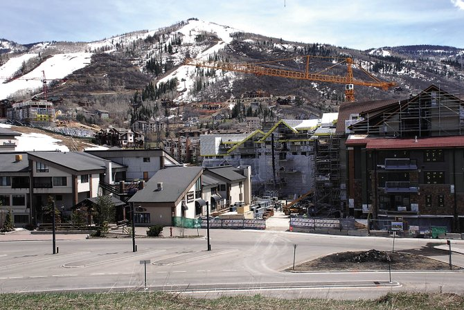 The new public gondola from Wildhorse Meadows to the ski base would crest the knoll between The West condos and Steamboat Grand Resort Hotel before descending to the entrance of a new plaza between Gondola Square and One Steamboat Place.