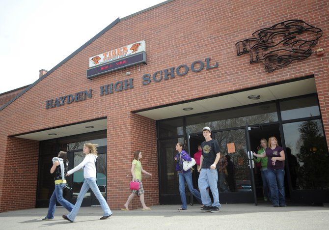 Hayden High School students leave school Friday afternoon for lunch. The town is celebrating the 100th year of the high school, which originally was located along Jefferson Avenue at the site of Red Stone Motel.