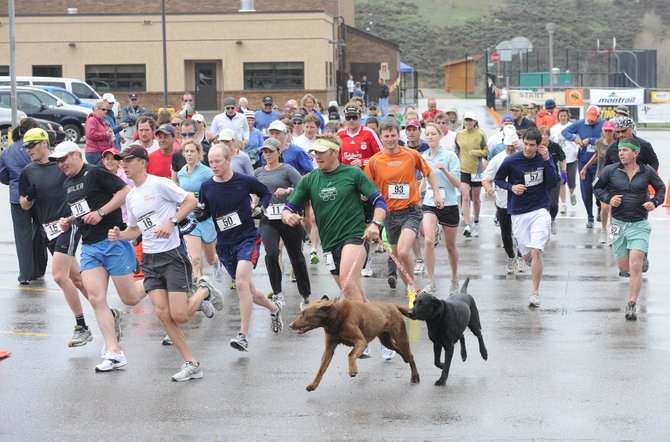 Runners come off the starting line during Saturday's Spirit Challenge race at Steamboat Springs Middle School. The race kicked off the 2009 Running Series.