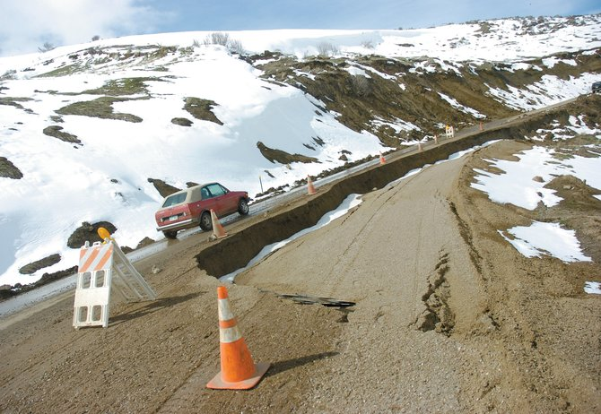 Routt County officials announced Wednesday that they have been awarded energy impact grand funds to fix the Cog Road in Hayden. The road, pictured here in spring 2008, is the victim of continued slides.