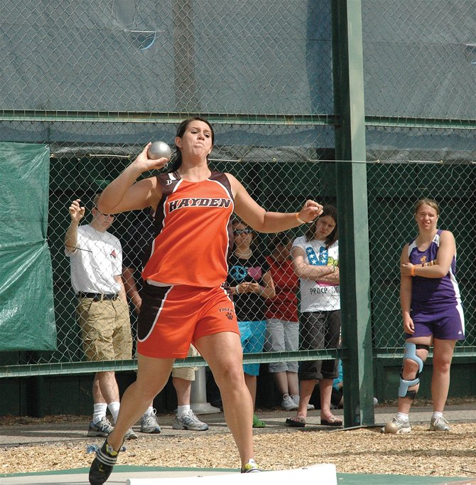 Hayden High School senior Holli Salazar throws the shot put at Saturday's regional meet in Grand Junction. Salazar won the event and set a meet record with 41 feet, 8.5 inches.