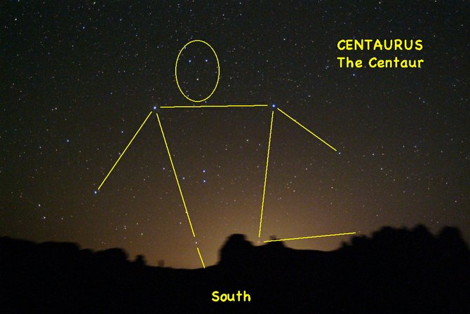 Go outside about 10 p.m. in late May and look south, underneath the bright blue star Spica. There, you'll spot the centaur's triangular head, his arms and human torso.