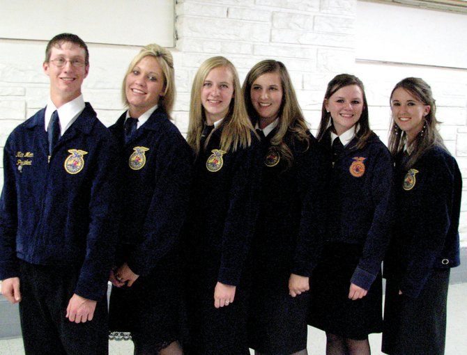 The Moffat County High School FFA Chapter has wrapped up several events recently, including the Oyster Fry and Project Sale as well as the State FFA Judging Contest. New officers also were chosen. They are, from left, Nate Moon, Alisha Camp, Amanda Ellgen, Karissa Manetois, Taelor Stagner and Jessica Wiseman.