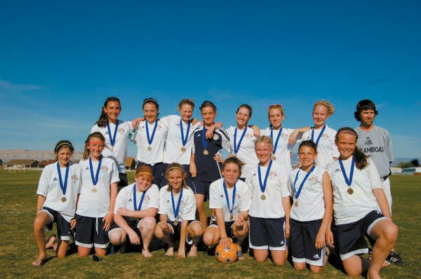 The Steamboat Springs girls U-14 soccer team celebrates after winning the Grand Mesa Invitational soccer tournament during the weekend. Twelve teams from the Steamboat Springs Youth Soccer Association attended the tournament. The U-11 girls and U-12 boys also won championships.