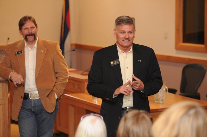 State Sen. Al White, R-Hayden, right, hosts a town hall meeting at Centennial Hall on Wednesday to discuss the 2009 legislative session. He was joined by state Rep. Randy Baumgardner, R-Hot Sulphur Springs.