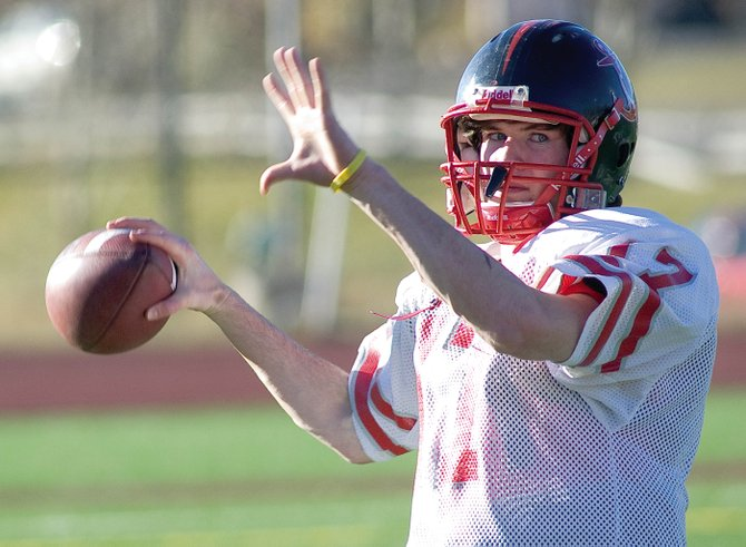 Steamboat Springs High School junior quarterback Austin Hinder, shown here in practice last fall, has narrowed his college choices down to a top three of the University of California-Berkeley, UCLA and Notre Dame.