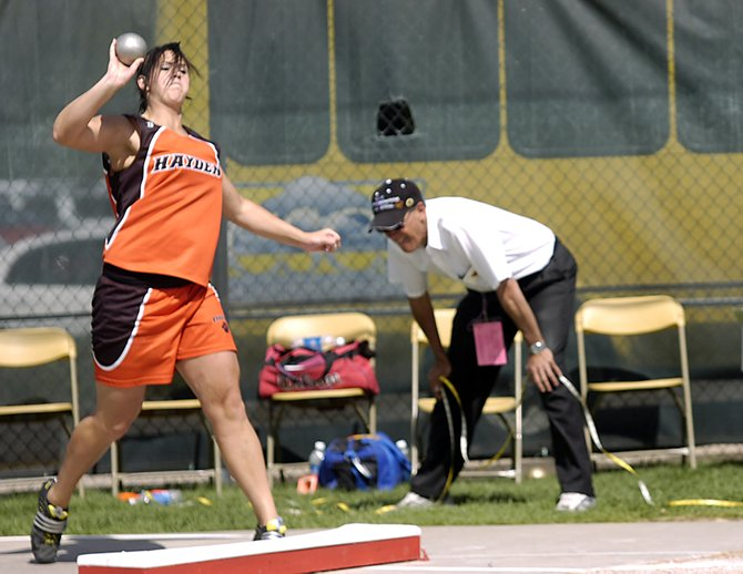 Hayden High School's Holli Salazar throws the shot put at last week's state track meet in Lakewood. Salazar will continue her track career next season at Colorado State University-Pueblo.