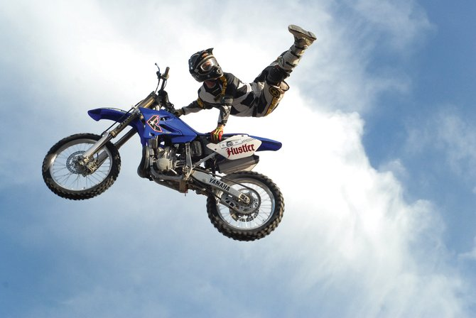 Josh Wilson, of Warrior Freestyle Extreme Stunt Shows performs Sunday at the Moffat County Fairgrounds. Wilson, from Fort Worth, Texas, is in his first year of competition.