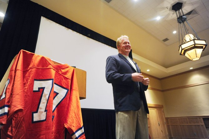 Karl Mecklenburg, who played 12 years for the Denver Broncos, speaks Thursday at the conclusion of the three-day 2009 Economic Summit at the Steamboat Grand Resort Hotel.