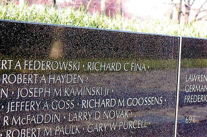 At the end of row 4, on panel 68E, Richard M. Goossens' name was added to the list of names of 58,260 soldiers who died in the Vietnam War. Goossens, a Hayden resident, died in September 2004. He suffered gunshot wounds in Vietnam on Mother's Day 1968. His name was added to the wall in 2008, four years after his passing.