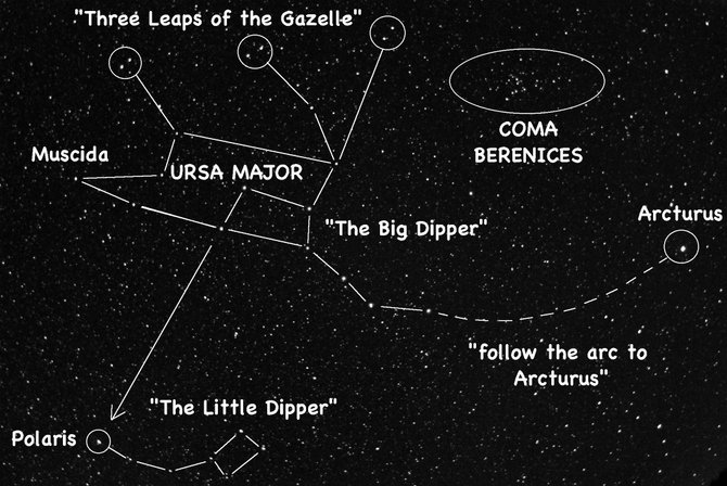 "If you can locate the Big Dipper, then you can find the ""Three Leaps of the Gazelle"" nearby. Look high in the western sky around 9:30 p.m. during late May."