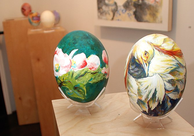 A pair of painted ostrich eggs sit on display in the K. Saari Gallery in downtown Steamboat Springs. Two dozen artist-decorated eggs will be up for auction June 12 as a part of the Eggs 2 Ovaries benefit. Money from the auction will be used to help raise awareness of ovarian cancer and support local women with ovarian cancer. The eggs will be on display at the K. Saari Gallery for today's First Friday Artwalk, and later will be featured at the Steamboat Art Museum until the auction.