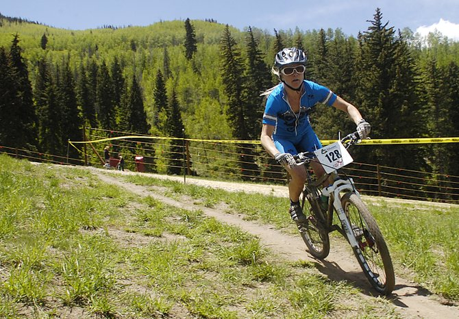 Kelly Boniface races on Golden Peak during the X-Country mountain biking event Saturday at the Teva Mountain Games in Vail. After winning the expert division a year ago, Boniface took a step up to race in the pro division.