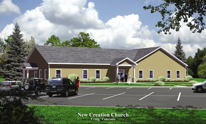 This conceptual rendering of an updated New Creation Church shows what the 6,000-square-foot building would look like when completed. The project is expected to be finished in November.
