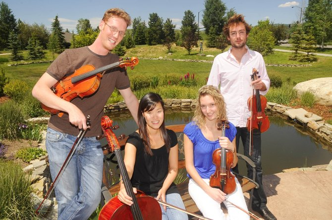 Meridian Quartet members, from left, Karl Pedersen, Anne Lee, Anastasia Storer and Claude Halter, will perform from 12:15 p.m. to 1 p.m. Thursday during a free concert at Yampa River Botanic Park. It will be the first Strings Music Festival&#39;s Music on the Green free summer concert of the season.